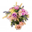 Bouquet from artificial flowers arrangement centerpiece in vase. — Stock Photo #54088607