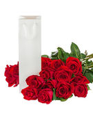 Gift Box and Bouquet from Roses Flowers Isolated on White. — Stock Photo