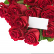 Flower Bouquet from Red Roses and Greeting Card Isolated. — Foto de Stock   #54787977