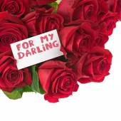 Flower Bouquet from Red Roses and Greeting Card Isolated.  — Φωτογραφία Αρχείου