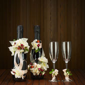 Champagne Bottles with Glass and Wedding Decoration of Flower Ar — Stock Photo