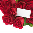 Flower Bouquet from Red Roses and Greeting Card Isolated. — Stock Photo #55293629