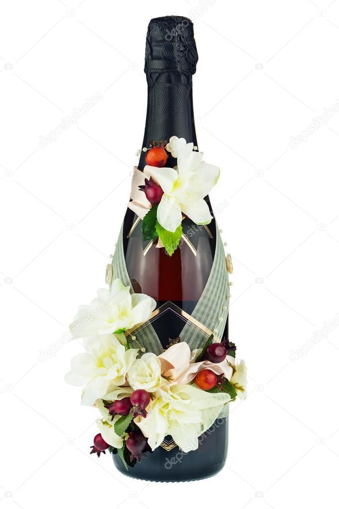bouteille de champagne avec d coration de mariage de compositions florales photographie. Black Bedroom Furniture Sets. Home Design Ideas