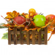 Composition from Artificial Fruits and Autumn Leaves in Wooden B — Stock Photo #57650597