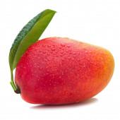 Fresh Mango Fruit with Green Leaves Isolated on White Background — Stock Photo