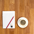 Blank Notepad with Office Supplies and Cup of Coffee. — Stock Photo #58197173