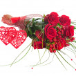 Colorful Flower Bouquet from Red Roses and Two Hearts Isolated. — Stock Photo #58197437