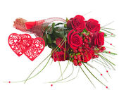 Colorful Flower Bouquet from Red Roses and Two Hearts Isolated. — Foto Stock