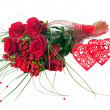 Colorful Flower Bouquet from Red Roses and Two Hearts Isolated. — Stock Photo #58770947