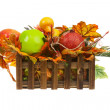 Composition from Artificial Fruits and Autumn Leaves in Wooden B — Stock Photo #58773917