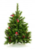 Green Decorated Christmas Tree Isolated on White Background. — Stock Photo
