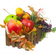 Composition from Artificial Fruits and Autumn Leaves in Wooden B — Stock Photo #60294373