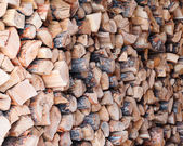 Woodpile from dry oak logs. — Stock Photo