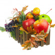 Composition from Artificial Fruits and Autumn Leaves in Wooden B — Stock Photo #60753769