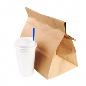 Recycle paper bag and cup of coffee or tea isolated on white bac — Stock Photo