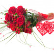 Colorful Flower Bouquet from Red Roses and Two Hearts Isolated. — Stock Photo #63802185