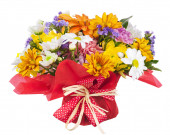 Bouquet of gerbera, carnations and other flowers isolated on whi — Stock Photo
