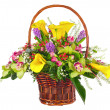 Flower bouquet arrangement in wicker basket isolated on white ba — Stock Photo #64812589