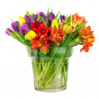 Flower bouquet from colorful tulips in glass vase isolated. — Stock Photo #67400959