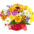 Beautiful bouquet of gerbera, carnations and other flowers. — Stock Photo #67480427