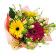 Beautiful bouquet of gerbera, carnations and other flowers. — Stock Photo #67480441