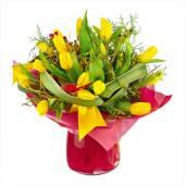 Bouquet of yellow tulips. — Stock Photo