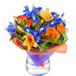 Flower bouquet from roses, lilies, iris  and other flowers. — Stock Photo #75329617