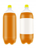 Orange drink in plastic bottles. — Stock Photo