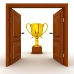 3D Door and Gold Trophy — Stock Photo #69023553