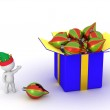 3D Character Showing Gift Box with Colorful Globes — Stock Photo #69336493