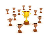 3D Small Bronze Trophy and Large Gold Trophy — Stock Photo
