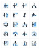 Business Management Icons - Blue Series — Stock Vector