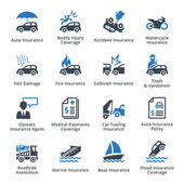 Auto Insurance Icons - Blue Series — Stock Vector