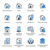 Home Insurance Icons - Blue Series — Vector de stock