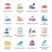 Auto Insurance Icons - Colored Series — Stock Vector