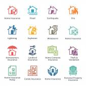 Home Insurance Icons - Colored Series — Stock Vector