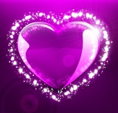 Glowing heart on violet background — Stock Vector