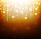 Gold background with bright hearts and sparkles — Stockvektor