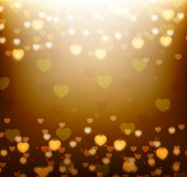 Gold background with bright hearts — Stockvektor