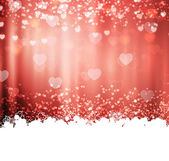 Red background with hearts and lights — Stock Vector