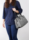 Young woman with beautiful bag — Stock Photo