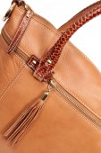 Brown genuine leather bag — Stock Photo