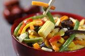 Vegetarian wok with bamboo and corn — Stock Photo
