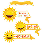 Sun discount tags - Illustration — Stock Vector