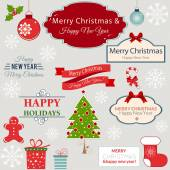 A set of Christmas design elements — Stock Vector