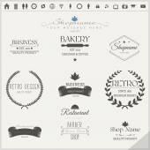 Retro Vintage Insignias or Logotypes Set — Stock Vector