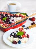 Fruit pudding with berries — Stock Photo