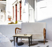 Terrace with table and sofa — Foto Stock