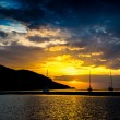 Yachts in the bay at sunset of Athens — Stock Photo #63308673