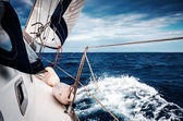 Sail of yacht against the sky and the sea — Stock Photo